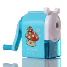 Cute Cartoon Hand Mechanical Pencil Sharpener Blue Red Office School Student Stationery Sharpeners Kids Gifts Supplies(China)