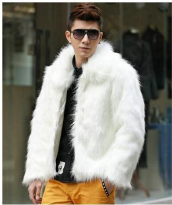 S/6XL Mens Casual Imitation Fur Jackts White/Black/Brown Faux Fur Jackets Winter Autumn Large Size Male Fake Fur Coats K745