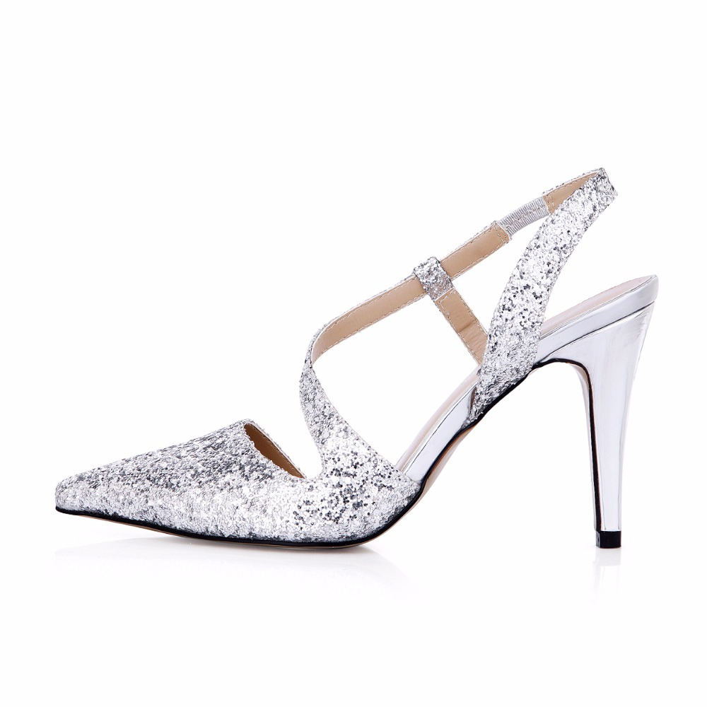 2017 New Silver Glittering Elegant Wedding Shoes Women Pointed Toe Stiletto Super High Heels Ladies Pumps Zapatos Mujer 3364-e2 2017 new spring summer shoes for women high heeled wedding pointed toe fashion women s pumps ladies zapatos mujer high heels 9cm