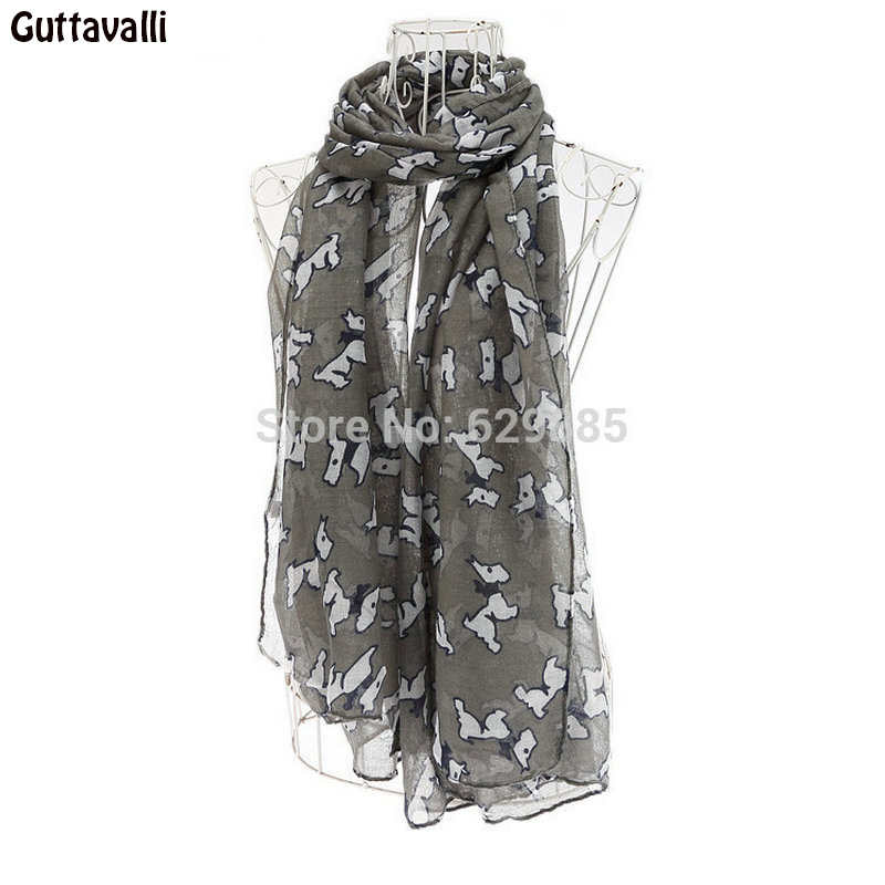 Guttavalli Fashion New Cute Women Dog Scarves Nice Print Animal Long Chevron Shawl Female Winter Autumn Dogs Soft Scarf