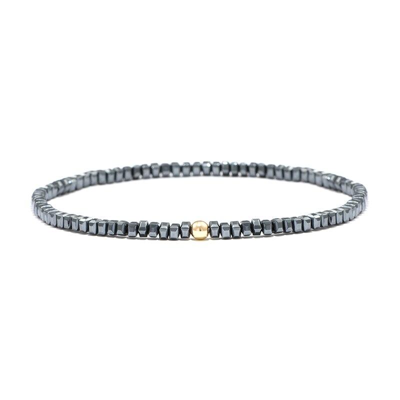 Geometric 4mm Small Hematite Beads Bracelet Handmade Magnetic Healthy Silm Braclet For Women Men Armband Jewelry Bileklik