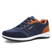 2019 Autumn New Men Shoes Lace-Up Men Fashion Shoes Microfiber Leather Casual Shoes Brand Men Sneakers Winter Men FLats Blue winter men loafers size 38 47 men s leather casual shoes autumn genuine leather men shoes lace up men flats fashion black shoes