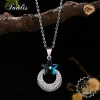 INALIS 100 925 Sterling Silver Clear Round Zircon Pendant Necklace With Blue Zircon Fashion Jewelry For