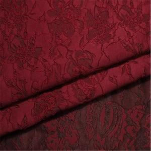 "Image 5 - 1Meter Wine Black  Jacquard Brocade Fabric Sewing On Clothing Dress Material Patchwork Diy ZAKKA Flower Fabrics  286G/M 53"""