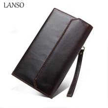 New LANSO Brand Men Wallets Casual Wallet Men Purse Clutch Bag Brand Genuine Leather Wallet Long Design Men Bag Gift For Men