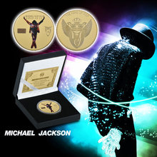 WR Michael Jackson Gold Plated Commemorative Coin United States Pop Singer Gold Coins Collectibles for New Year Gift(China)