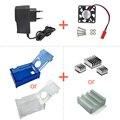Прозрачный Акриловый Raspberry Pi 3 Модель B Чехол + вентилятор охлаждения + 5 В 2A Power Plug США/ВЕЛИКОБРИТАНИЯ/ЕС Корпус + Теплоотвод для raspberry pi 2
