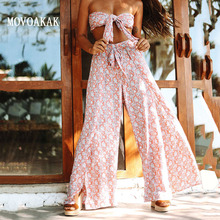 Hot Summer Fashion Sexy Vrouwen Sets Strand Split Broek Wrap Top Womens Suit Tweedelige Set Top En Broek bloemen 2 Delige Set Vrouwen