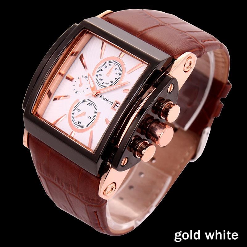BOAMIGO men quartz watches large dial fashion casual sports watches rose gold sub dials clock brown leather male wrist watches