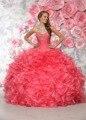 Baratos vestidos de 15 años sweetheart frisada melancia rosa quente quinceanera vestidos 2017 vestidos de debutante sweet 16 vestido