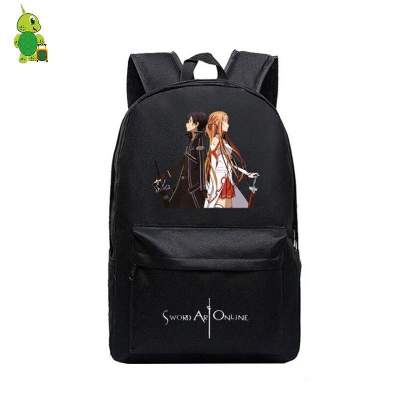 Fashion Children Anime SAO Backpack Sword Art Online Kirito Asuna Llenn  Sinon School Bags For Boys Girls ... 84e70b8bbb3a6