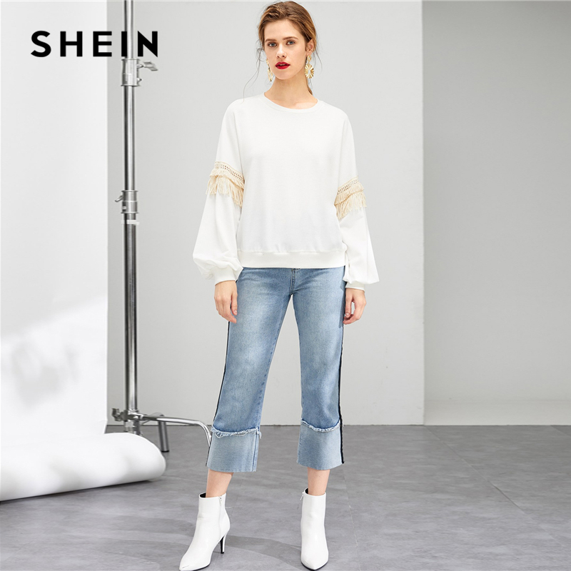 78b84aa751 Aliexpress.com : Buy SHEIN White Drop Shoulder Fringe Embellished Sweatshirt  Casual Long Sleeve Round Neck Pullovers Women Autumn Sweatshirts from  Reliable ...