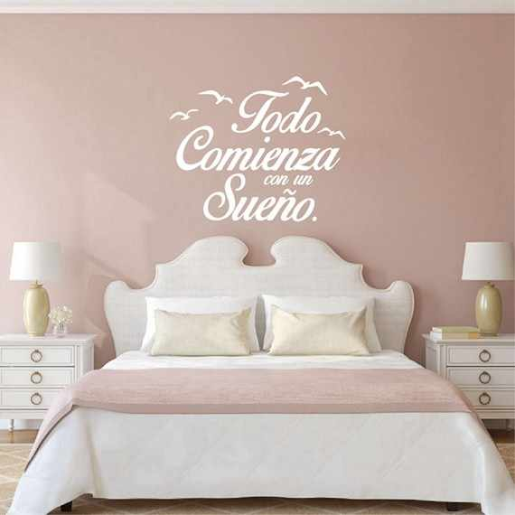 Spanish Quote Vinyl Wall Stickers Bedroom Wall Decals Seagull Birds Letterings Home Decor Kids Bedroom Decoration