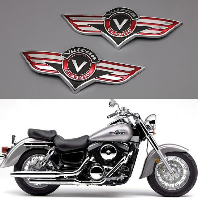 Chrome abs plastic 3d fuel gas tank badge emblem decal sticker for kawasaki vulcan motorcycle