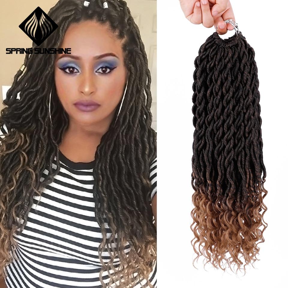Spring sunshine Synthetic Hair Ombre Braids Bohemian Faux Locs Curly Crochet Braids Braiding Hair Bulk Crochet Hair Extensions
