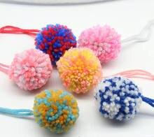 60 шт разноцветные помпоны из ниток ручной работы для костюмов