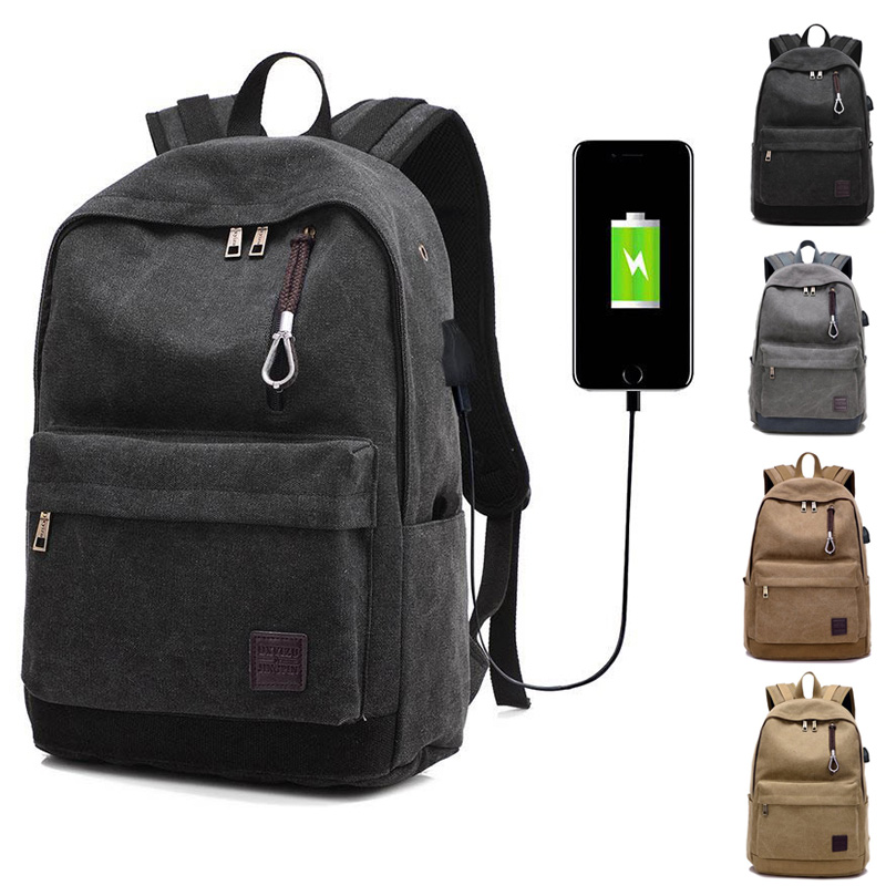 High Quality Men Women Laptop Backpack Canvas Travel USB Charge Computer Anti-theft Shoulder Bag Casual Rucksack PopularHigh Quality Men Women Laptop Backpack Canvas Travel USB Charge Computer Anti-theft Shoulder Bag Casual Rucksack Popular