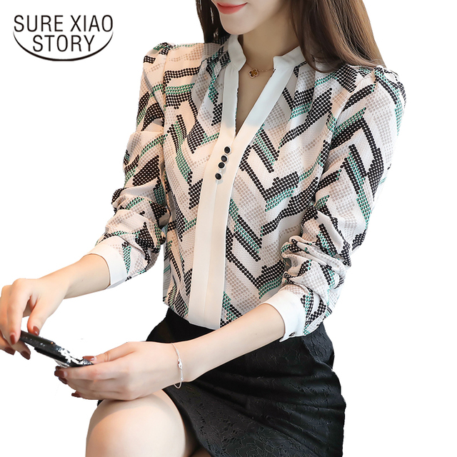 2018 autumn long sleeve women's clothing OL blouse v-neck printed chiffon women blouse shirt striped women tops blusas D211 30