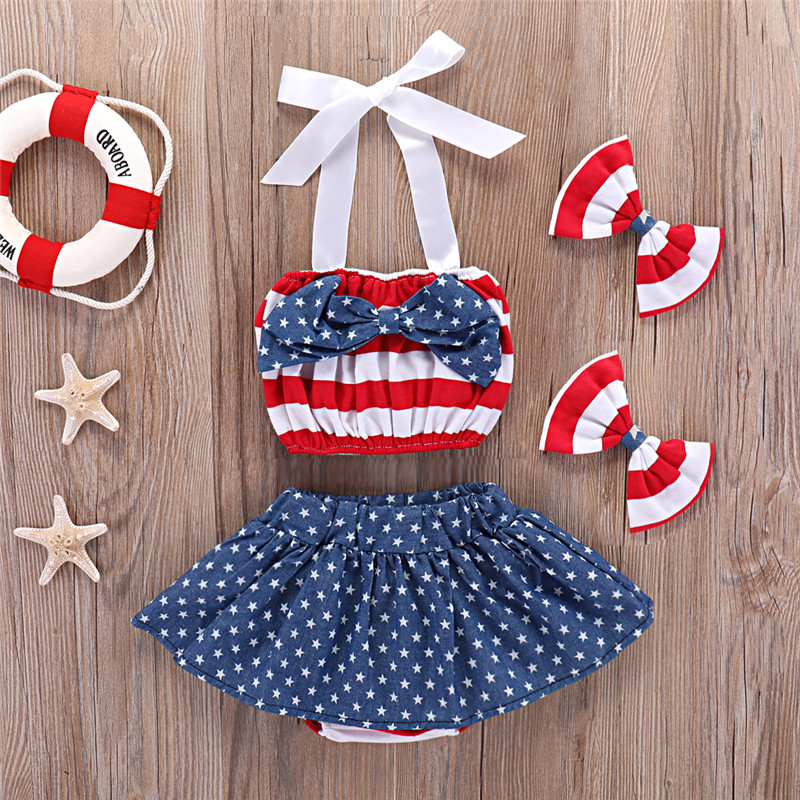 4th of July Newborn Baby Girls Skirt Sets Stripe Halter Tops + Star Skirts Toddler Outfits Fourth Children Clothes 4pcs