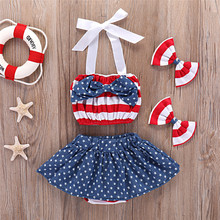 4th of July Newborn Baby Girls Skirt Sets Stripe Halter Tops + Star Skirts Toddler Outfits Fourth of July Children Clothes 4pcs 4th of july girl tulle tutu skirt headband 2pcs sets toddler baby girls clothes blue white red kids mini mesh rainbow pettiskirt