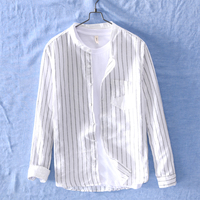 Japanese Style Fashion Mens Shirt Stripe Collarless Long Sleeve Linen Shirt Men Summer Streetwear Casual Shirts camisa masculina