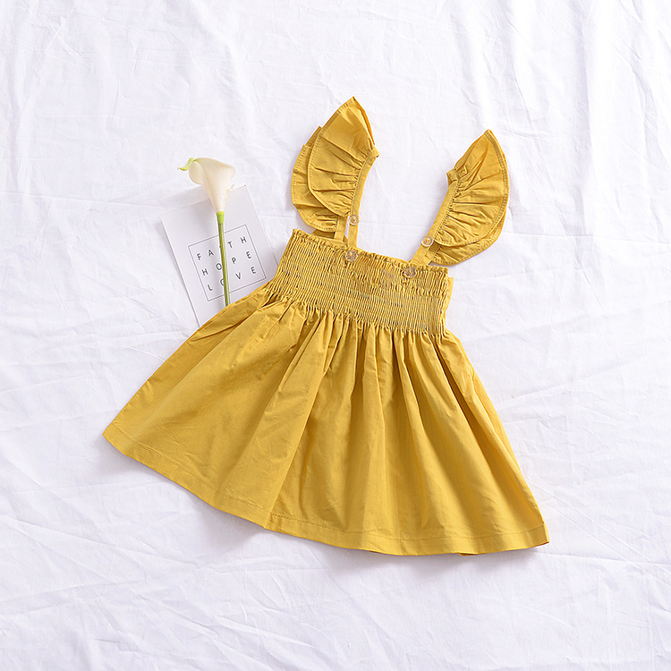 2018 Toddler Baby Kid Girl Plaid Lace Belt Backless Yellow Plaid Bow Collar Sleeveless Clothes Cute Summer Dress
