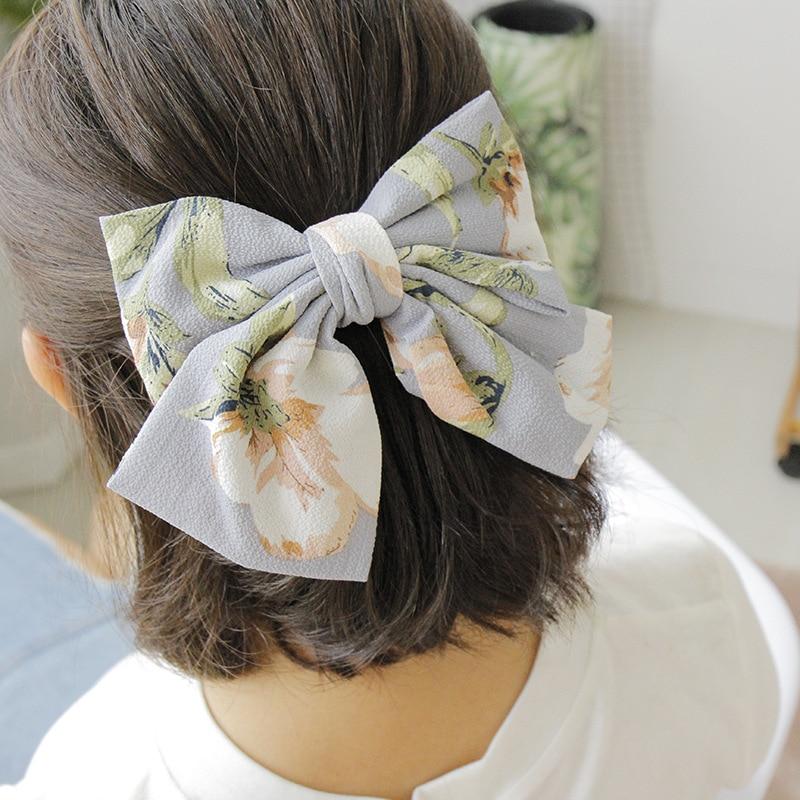 Big Large Chiffon Print Hairpins Beautiful Girls Large Bow Barrettes Fashion Solid Hair Clips Women Hair Accessories Headwear