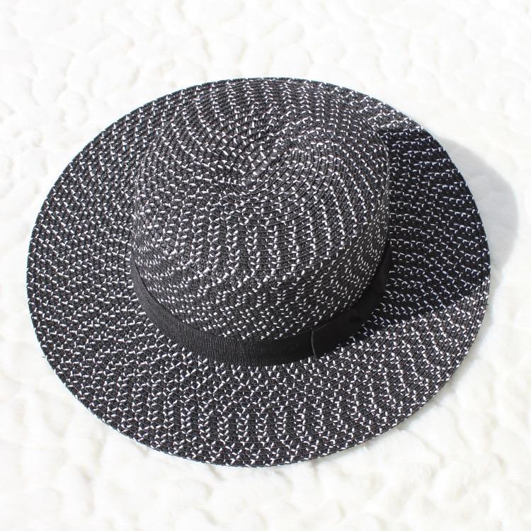 Women Summer Beach Sun hats 2018 Brand Black and white New Flat Top ... dcd352f9f814