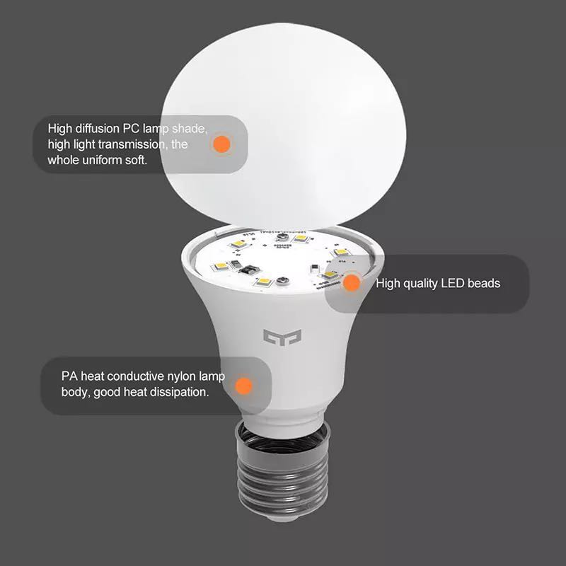 Image 3 - Xiaomi Yeelight LED Bulb Cold White 25000 Hours Life 5W 7W 9W 6500K E27 Bulb Light Lamp 220V for Ceiling Lamp/ Table Lamp-in Smart Remote Control from Consumer Electronics