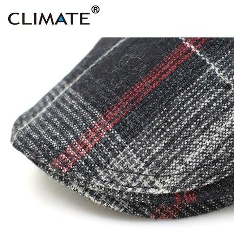 CLIMATE Winter Men Berets Cap Men Thicken Plaid Flat Cap Woolen Grid Warm Newsboy Tweed Gatby Painter Style Adult Men Cap Hat Multan