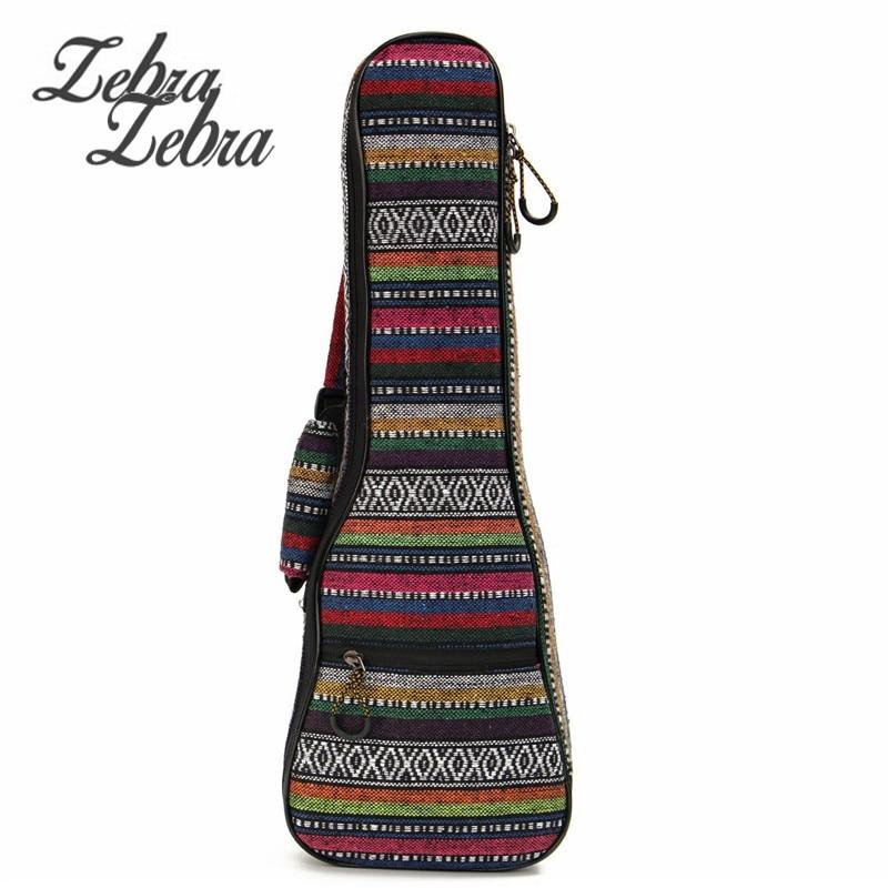 Zebra 26 Soft Padded Cotton Folk Style Portable Bag Case Cover Backpack Double Shoulder For Ukulele Small Guitar Gig Bag