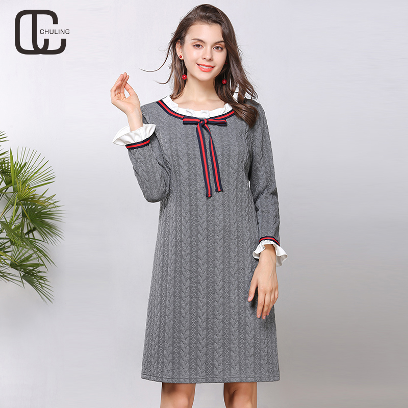 Women Casual Gray Ruffles Long Sleeve O Neck Winter Dresses Female Ribbon Bow Plus Size Office Elegant Fashion Lady Dress