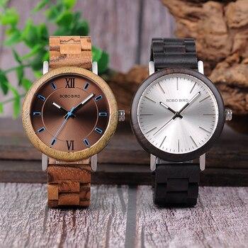 Relojes de madera para hombre combinación metal con caja 1
