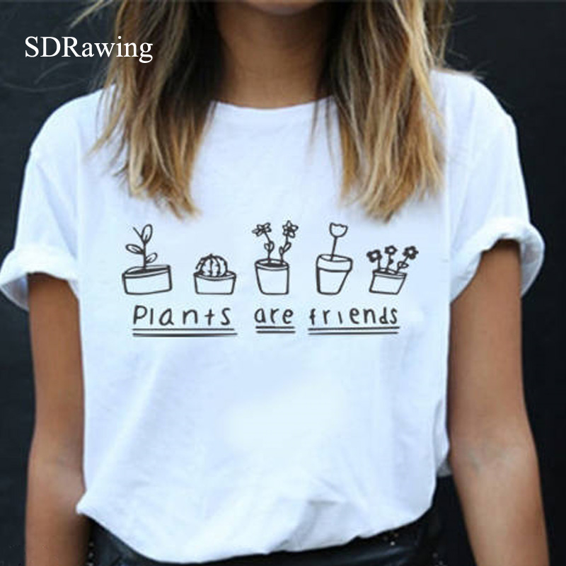 Plants Are Friends letter print woman cotton T Shirt Unisex Plant Lovers Hipster Farmer Tumblr tops casual tees drop ship