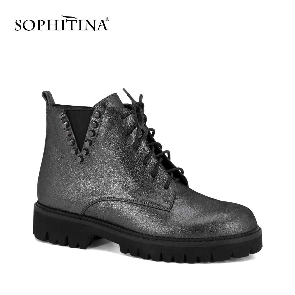 SOPHITINA 2019 Genuine Leather Motorcycle Boot High Quality Warm Short Plush Shoes Soft Round Toe Brand Woman Ankle Boots M54SOPHITINA 2019 Genuine Leather Motorcycle Boot High Quality Warm Short Plush Shoes Soft Round Toe Brand Woman Ankle Boots M54