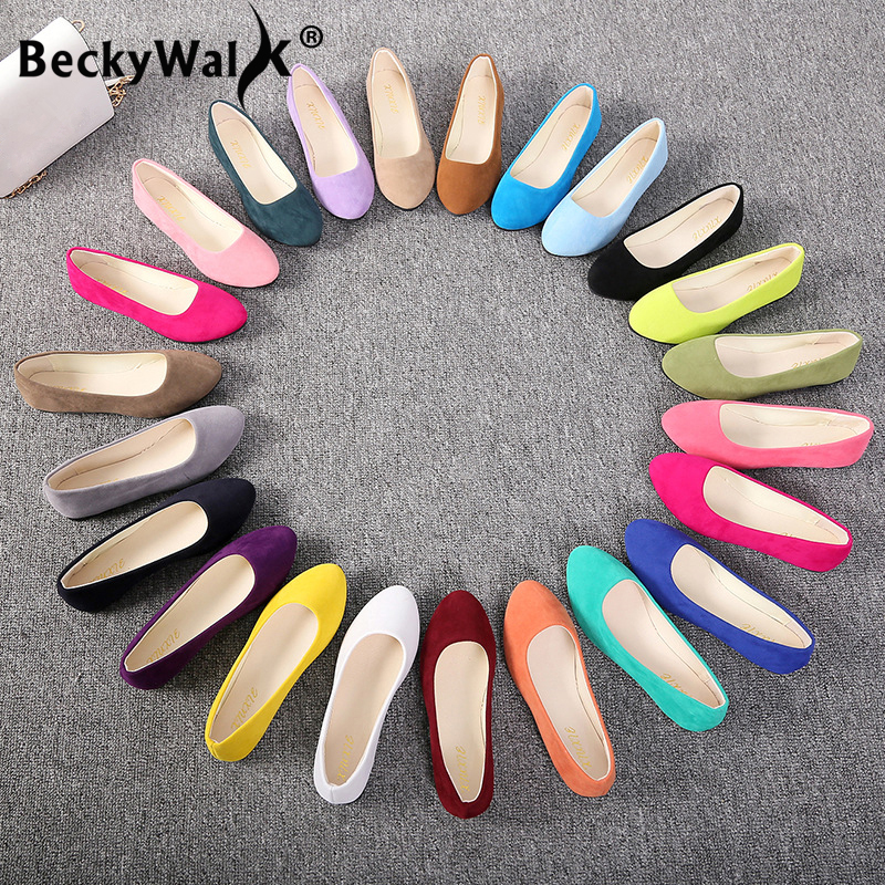 Female Loafers Flats-Shoes Ballet-Flats Flock Spring Slip-On Pointed-Toe Large-Size Women