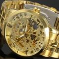 2016 Nuevo Ganador de Oro Relojes de Marca de Lujo de Los Hombres de La Manera Ahueca Hacia Fuera El Hombre Mecánico Automático Relojes Waches relogio masculino