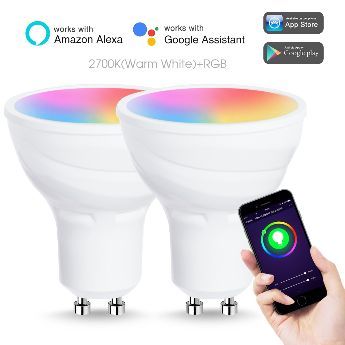 Smart WiFi LED Bulb GU10 5W 50W Equivalent White Ambiance Sport Track Lighting Compatible with Alexa