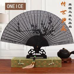 Chinese Fan Sub-ancient Wind Folding Hollow 7 Inch Ebony Wood Sandalwood Craft Gift To Send Foreigners Full Handmade Wedding
