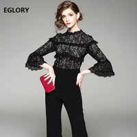 2018 Spring Fashion Brand Jumpsuits Women Hollow Out Lace Patchwork Flare Sleeve Full Length Flare Black