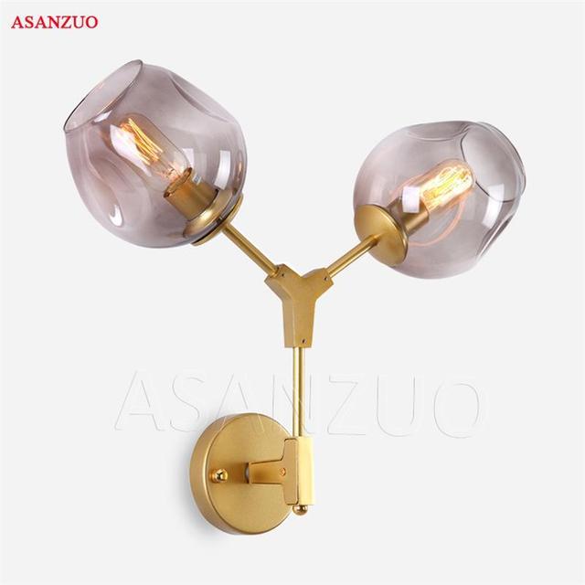 Amerikaanse Vintage Loft Dubbele Hoofden Wandlamp Retro Glas Bal Wandlamp Land Stijl E27 Moderne Blaker Lamp Armaturen