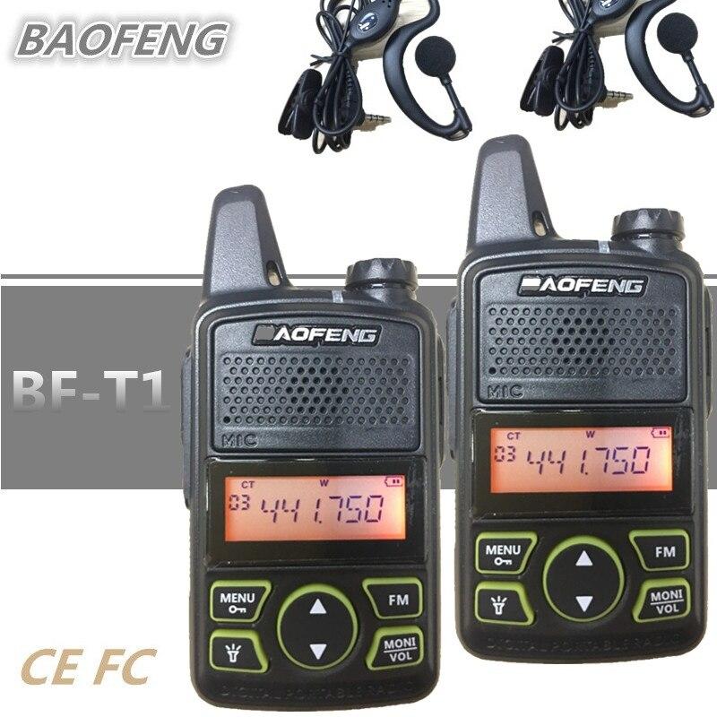 2 stücke BAOFENG BF-T1 Kinder Radio MINI Talkie Walkie UHF Tragbare Ham CB Radio BAOFENG T1 Transceiver Intercom USB Ladegerät bf t1