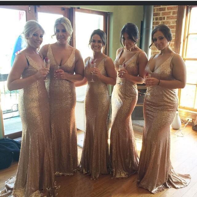 Brillante oro rosa champán sirena v-cuello de lentejuelas vestidos de dama barat