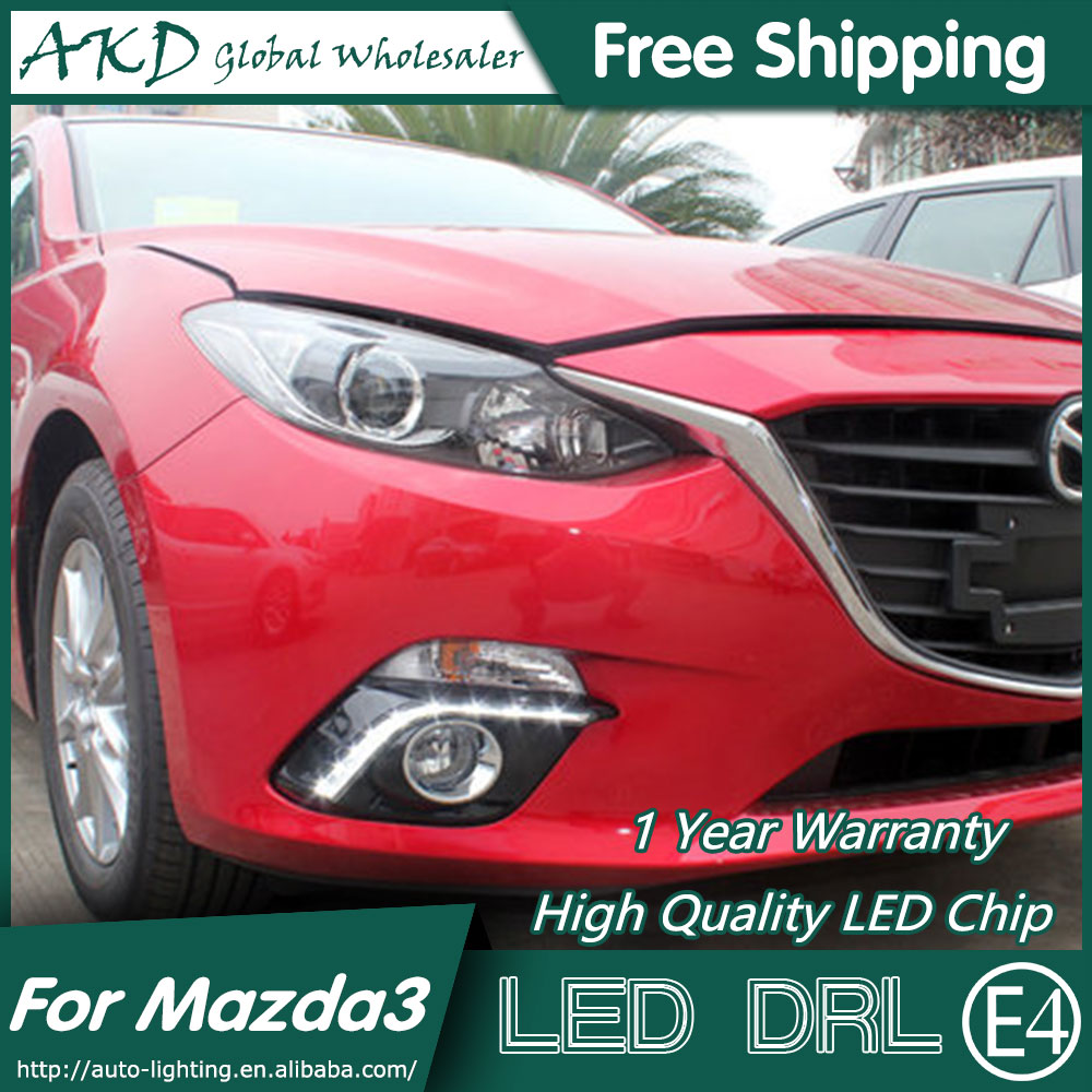 AKD Car Styling for Mazda 3 DRL 2014-2015 New Mazda 3 Axela LED DRL LED Running Light Fog Light Parking Accessories car styling abs material roof spoiler without paint for mazda axela 2013 2014 2015 high quality auto decoration accessories