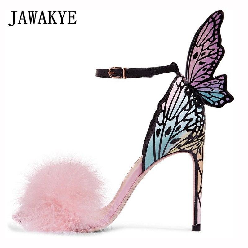 Elegant Pink Feather Butterfly Wing Women Sandals Open Toe Super Thin High Heels Stilettos Party Shoes Woman Gladiator Sandals Elegant Pink Feather Butterfly Wing Women Sandals Open Toe Super Thin High Heels Stilettos Party Shoes Woman Gladiator Sandals