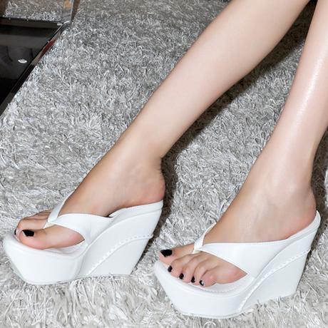Zapatos de Cuña de la plataforma para Las Mujeres Correa De La Sandalia Flip Flop zapatos de tacones plataformas de tacón alto sandalias de Playa y cuñas de tamaño grande zapatos