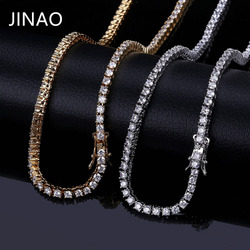 JINAO Gold/Silver/Rosegold Color Iced Out Chain Hip Hop Copper Micro Pave CZStone 3/5mm Tennis Chain Necklace With  18