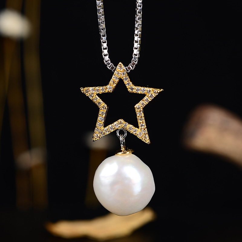 Retro Thai Silver Jewelry Customization Creative Fashion Natural Shaped Pearl Ornament Pendant Star Neckwear WholesaleRetro Thai Silver Jewelry Customization Creative Fashion Natural Shaped Pearl Ornament Pendant Star Neckwear Wholesale