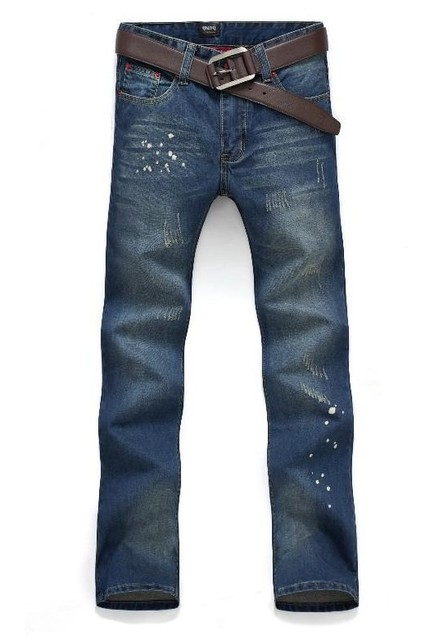 Free shipping!!  2013 new style the cat's paw splash-ink jeans men,straight type