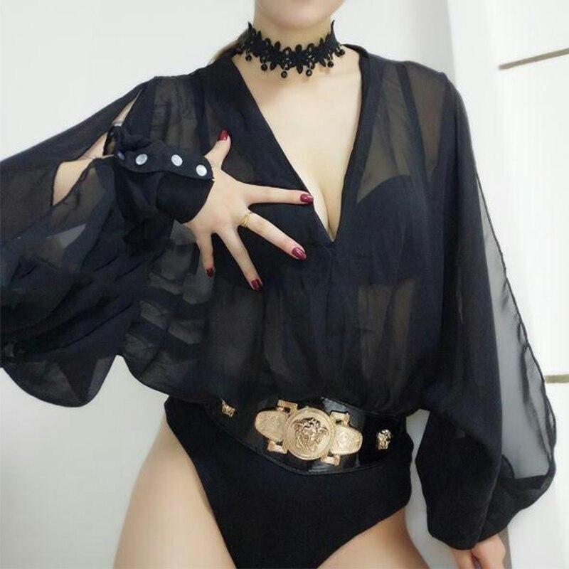 Fashion Pole Dance Bodysuit For Women Black Chiffon Dj Ds Gogo Jumpsuit Nightclub Dancer Outfit Adult Stage Perform Wear DC1534